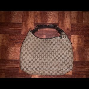 Pre Owned Gucci Monogram Horsebit Hobo Bag  115867